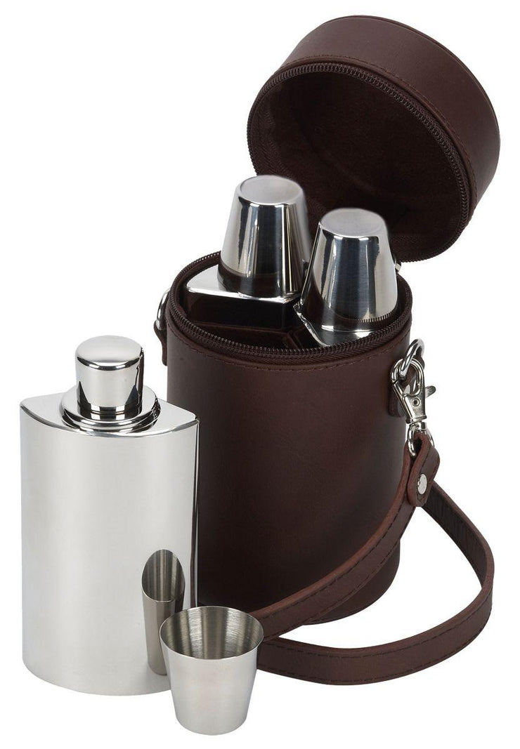 David Nickerson Brown Leather Travel Bar Whisky Set