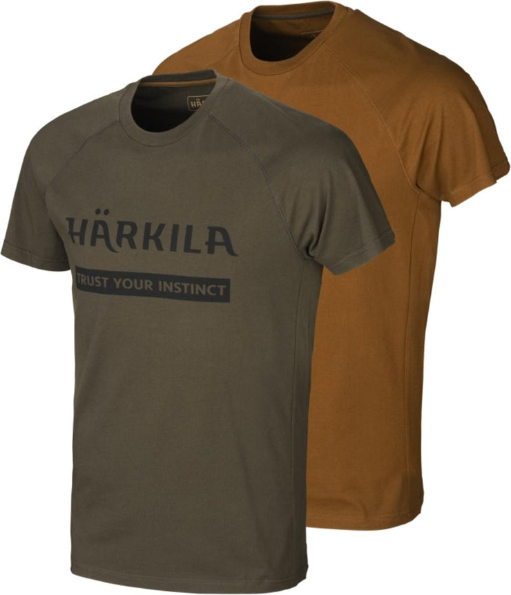 Harkila Harkila logo t-shirt 2-pack Willow green/Rustique clay