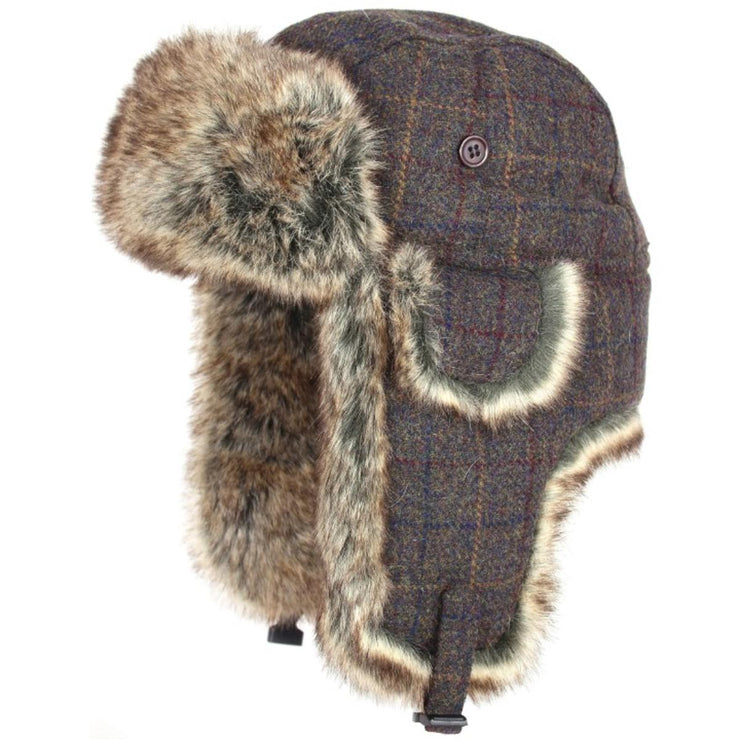 Jack Pyke Wool Blend Trapper Hat Brown Check