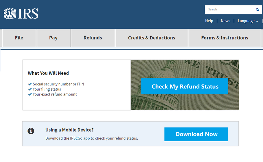 "IRS ""Where's My Tax Refund?"" Service Online"