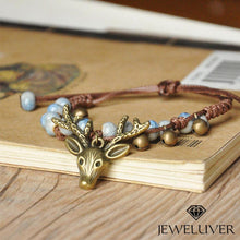 Load image into Gallery viewer, Handmade Deer Head Bracelet with Ice Crack Beads