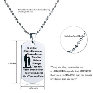 Mom To Son - Customized Stainless Steel Dog Tag Necklace