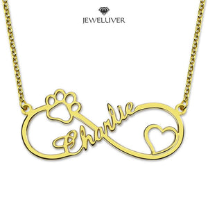 Heart + Paw Print Infinity Name Necklace