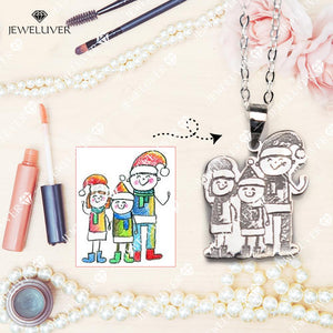 Actual Kids' Drawing Necklaces - Special Jewelry for Moms