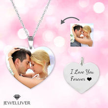 Load image into Gallery viewer, Heart Personalized Engravable Photo Necklace