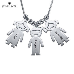 Personalized Mum Necklace with Engraved Children Charms