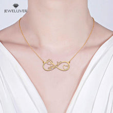 Load image into Gallery viewer, Heart + Paw Print Infinity Name Necklace