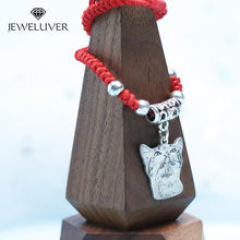 Load image into Gallery viewer, Custom Photo Bracelet in Red/Black Braided String