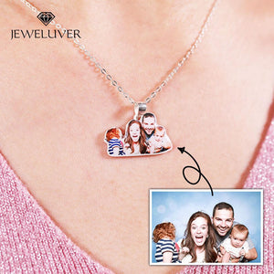 Personalized 3D Full Color Silver Portrait Necklace