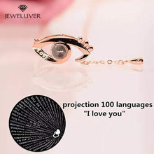 Load image into Gallery viewer, I Love You Necklace, 100 Languages Projection on Onyx Pendant Loving Memory Collarbone Necklace 1 Pcs