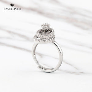Personalized Double-Circle Adjustable CZ Ring With Name Engraved Inside