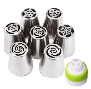 CakeLove - 7 Piece Stainless Steel Russian Piping Tips Large Size Icing Syringe Set