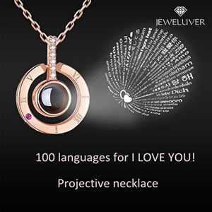 I Love You Necklace, 100 Languages Projection on Onyx Pendant Loving Memory Collarbone Necklace 1 Pcs