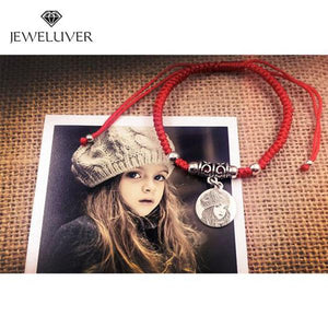 Personalized Round-Shaped Photo Bracelet in Red Braided String