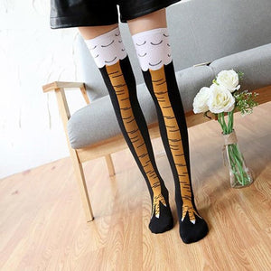 Chicken Leg Socks Stockings Women Girl Thicken Long Knee Socks Funny Chicken Stockings Striped Halloween Socks medias de mujer