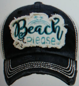 Beach Please Distressed Trucker Hats