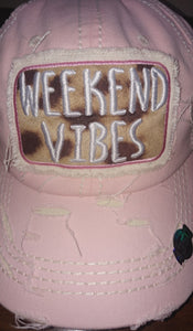 Distressed Light Pink Weekend Vibes Trucker Hat