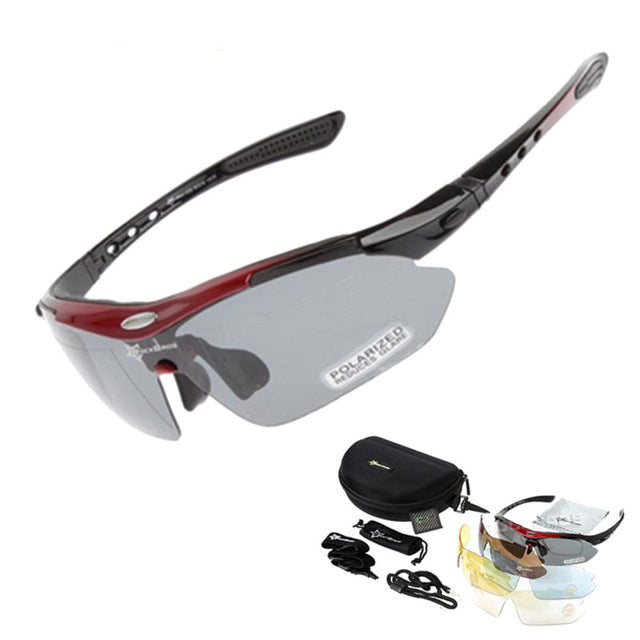 Hot! RockBros Polarized Cycling Sun Glasses Outdoor Sports Bicycle Glasses Bike Sunglasses  29g Goggles Eyewear 5 Lens - trendyby.com