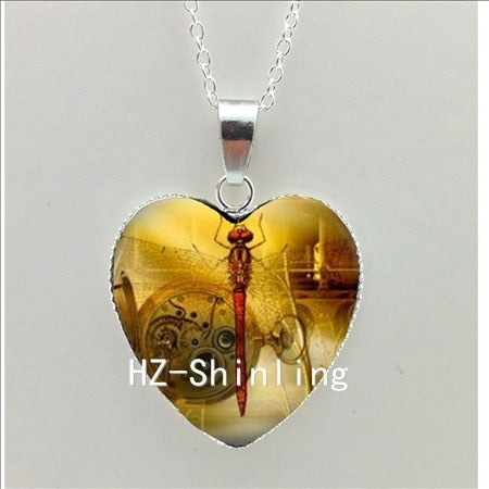 New Steampunk Dragonfly Heart Necklace - trendyby.com