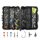 shaddock fishing 160PCS/Box Fishing Accessories Hooks Swivels Lead Fishing Sinker With Ring Carp Fishing Tackle Boxes - trendyby.com