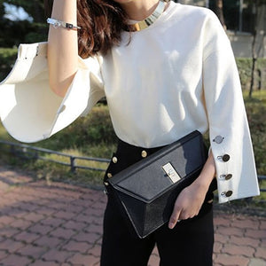 Autumn Flare Sleeve Split O-neck Female Tops - trendyby.com
