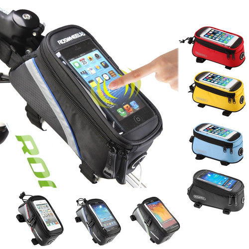 ROSWHEEL BICYCLE BAGS CYCLING BIKE FRAME IPHONE BAGS  HOLDER PANNIER MOBILE PHONE BAG CASE POUCH - trendyby.com