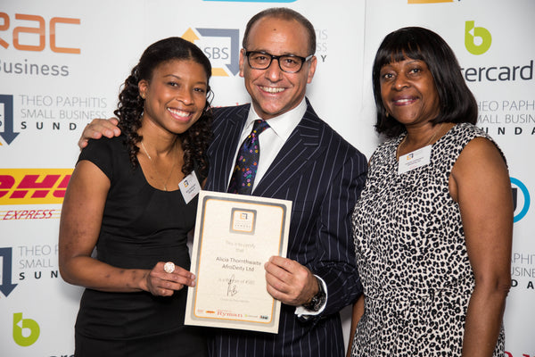 AfroDeity Founders Alicia and Joliette with Theo Paphitis