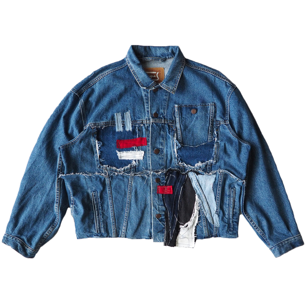 TAPED CROPPED DENIM JACKET