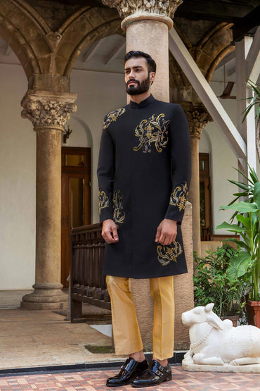 BLACK HAND EMBROIDERED SHERWANI - Arjun Kilachand