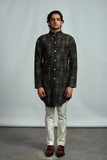 BLACK PINTUCK KURTA - Arjun Kilachand