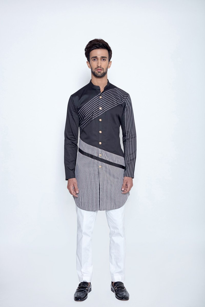 BLACK STRIPE KURTA - Arjun Kilachand