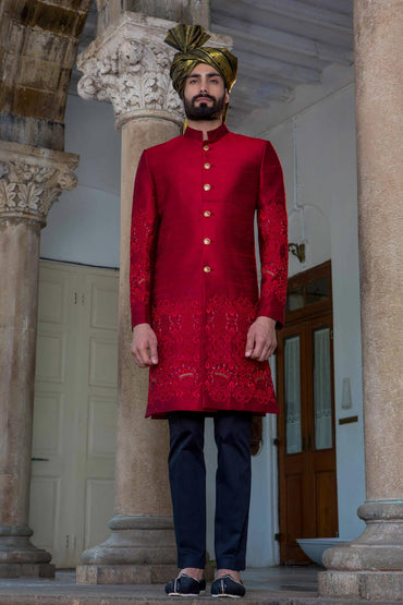 CHERRY HAND EMBROIDERED SHERWANI - Arjun Kilachand