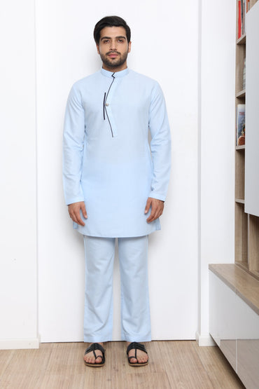 FROZEN BLUE KURTA SET - Arjun Kilachand