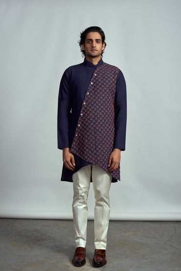 INDIGO NEON EMBROIDERED ASYMMETRICAL KURTA - Arjun Kilachand