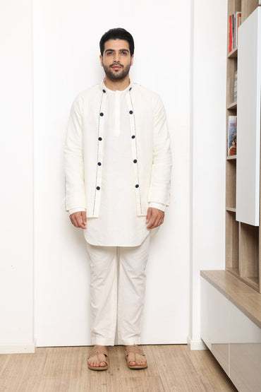 IVORY OPEN JACKET SET - Arjun Kilachand