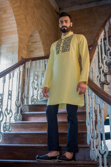 LEMON HAND EMBROIDERED KURTA - Arjun Kilachand
