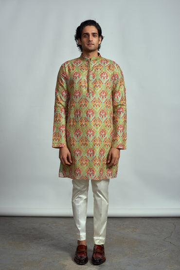 MINT GREEN FLORAL THREAD EMBROIDERED KURTA - Arjun Kilachand