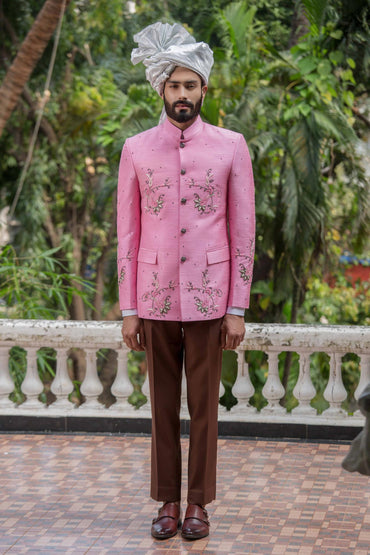 ROSE PINK HAND EMBROIDERED BANDGALA JACKET - Arjun Kilachand