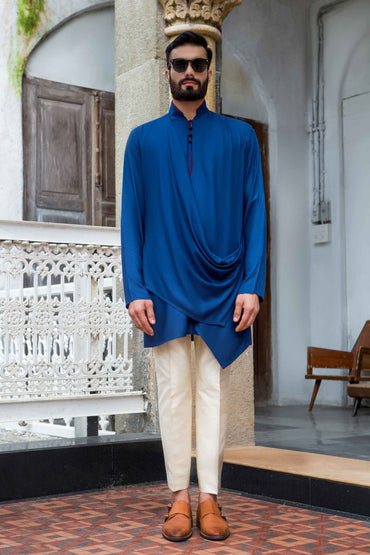 ROYAL BLUE DRAPE KURTA - Arjun Kilachand
