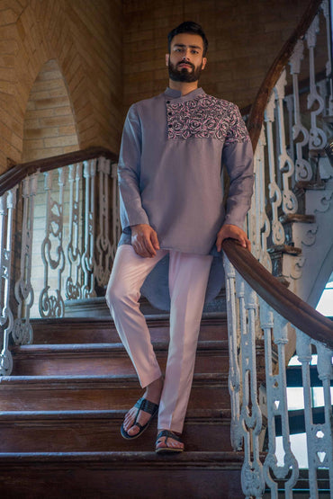 SLATE GREY HAND EMBROIDERED KURTA - Arjun Kilachand