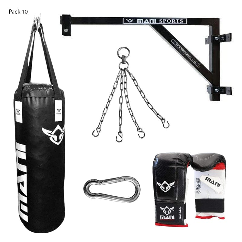 Fixed Wall Bracket + 90cm 3ft Punching Bag + Mitts + Bag Chain + Hook - Mani Sports®