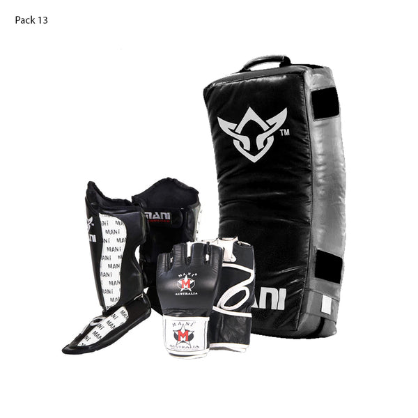 Curved Kick Shield + Shin N Steps + MMA Gloves