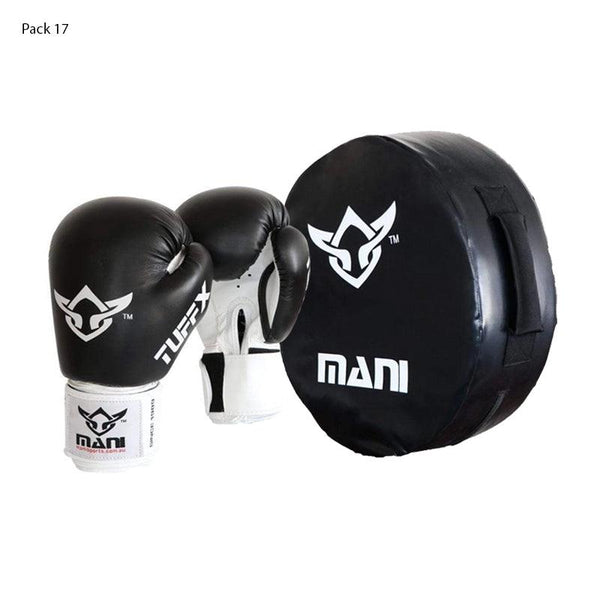 Round Kick Punch Shield Large + Boxing Gloves