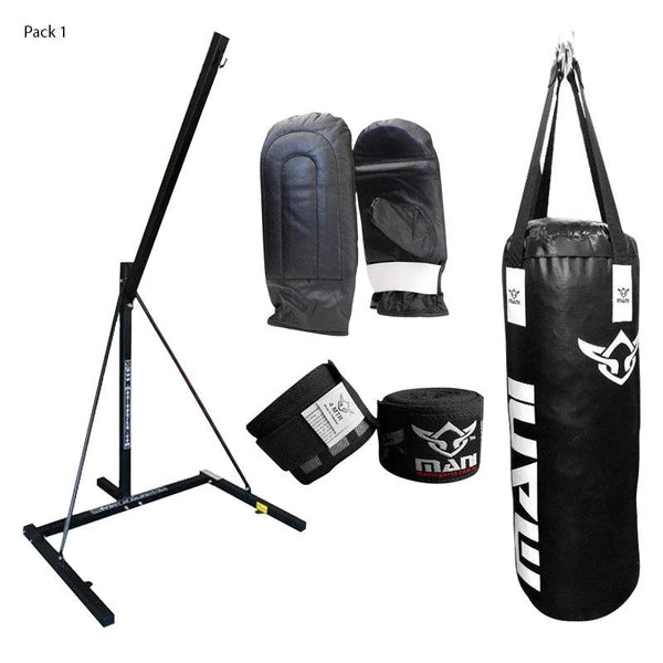 Single Bag Stand + Bag + Mitts + Hand Wrap Combo