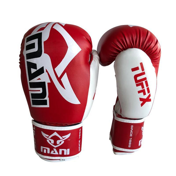 TuffX Boxing Gloves Red White - Mani Sports®