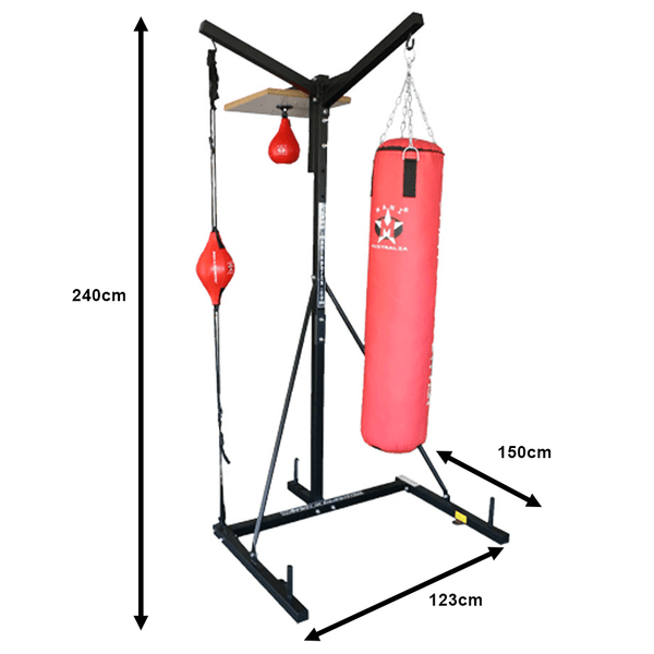 Punching Bag Workout Station 3 in 1 Bag, Punch Ball & Speed ball Stand - Mani Sports®