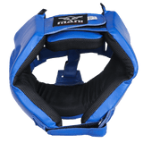 Leather Blue Open Face pre-moulded Head Guard