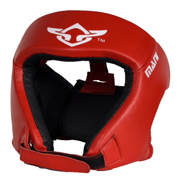 Leather Red Open Face pre-moulded Head Guard - Mani Sports®