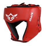 Leather Red Open Face pre-moulded Head Guard