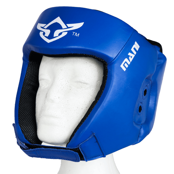 Leather Blue Open Face Pre-moulded Head Guard - Mani Sports®